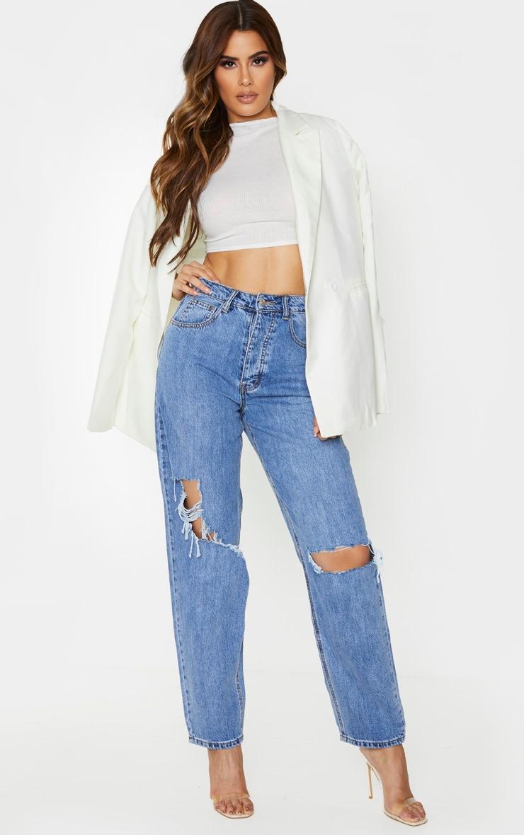 PRETTYLITTLETHING Mid Blue Tall Knee Rip Boyfriend Jeans 1
