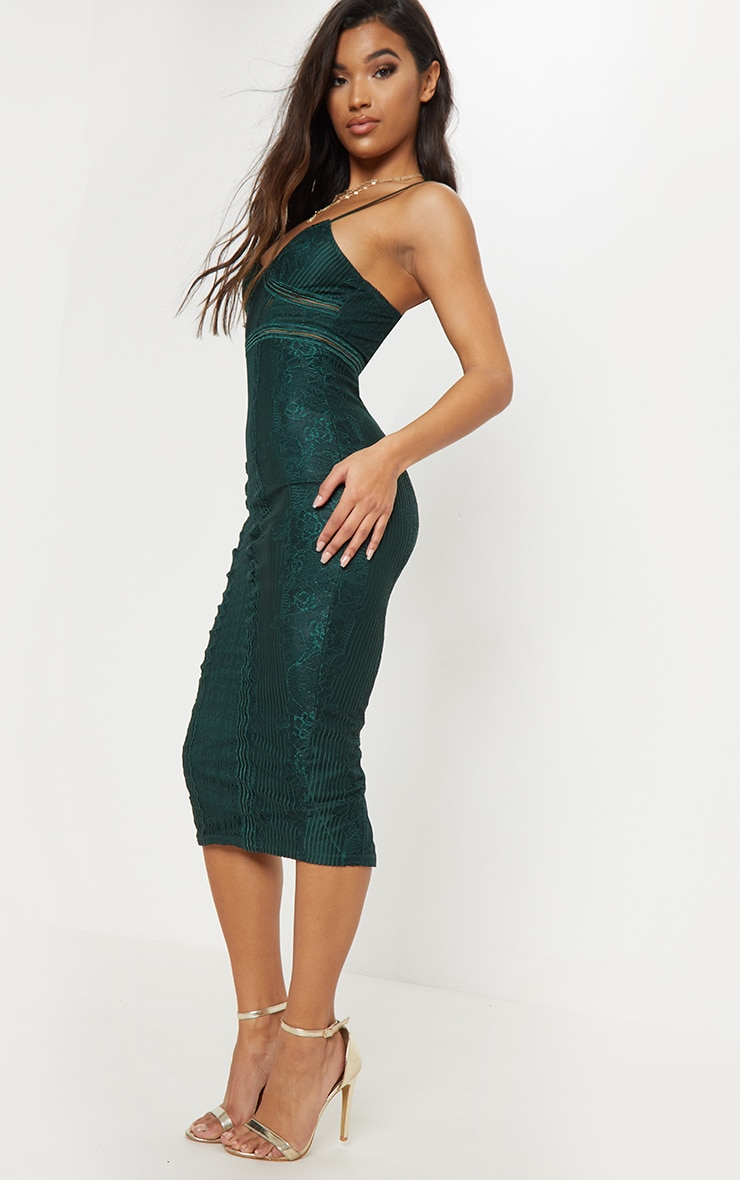 Emerald Green Lace Mesh Stripe Insert Midi Dress 4