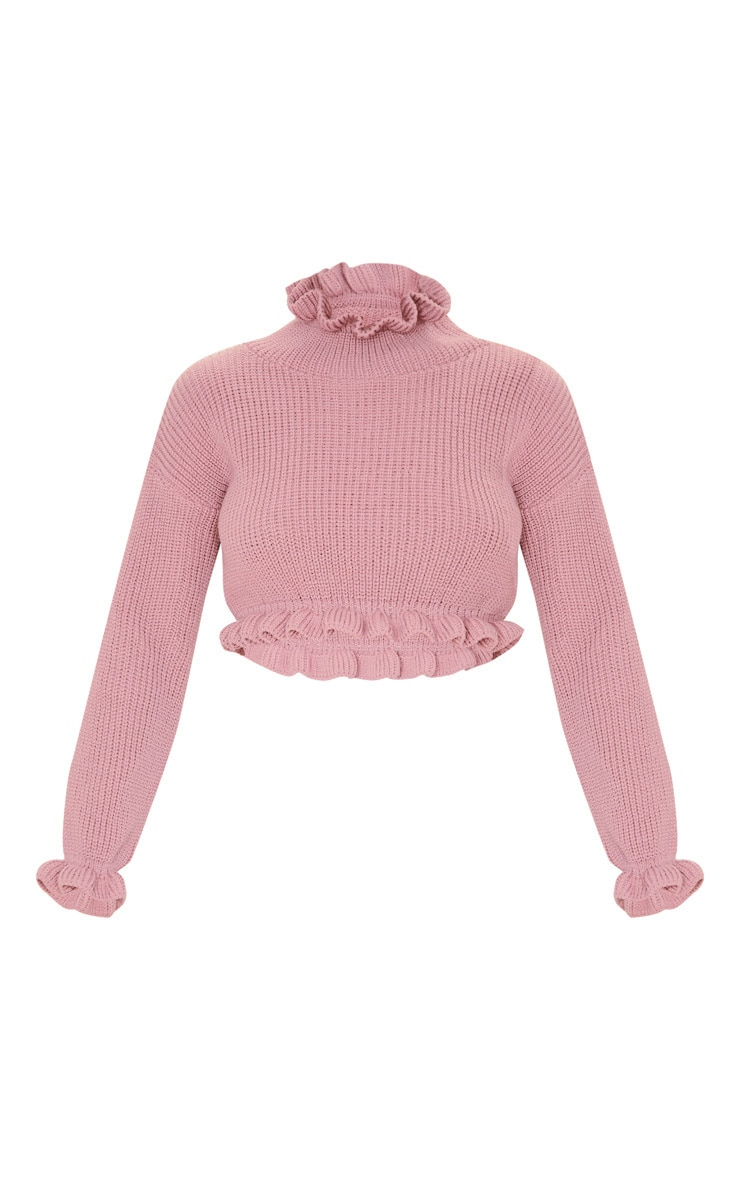 Rose Knit High Neck Ruffle Trim Crop Sweater 3