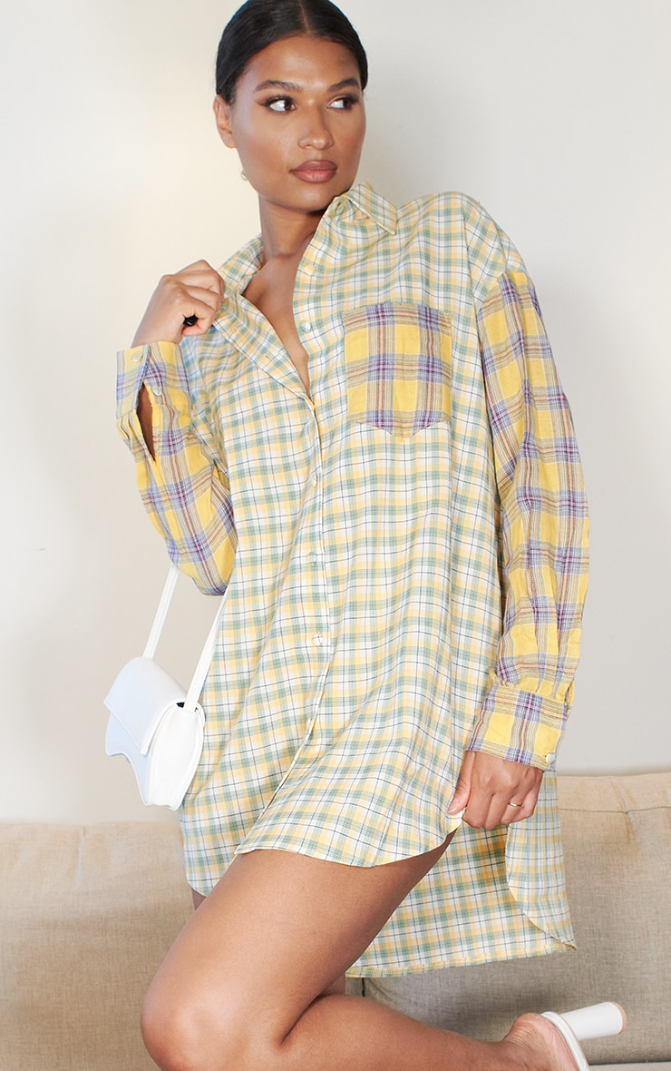 Yellow Contrast Check Shirt Dress 1