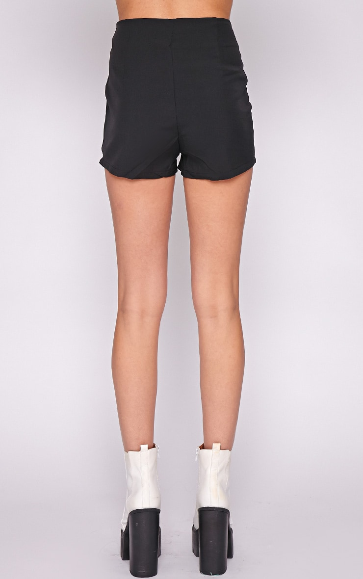 Kiana Black Striped Zip Front Short 4