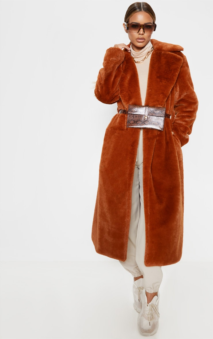 Petite Brown Belted Faux Fur Coat 1