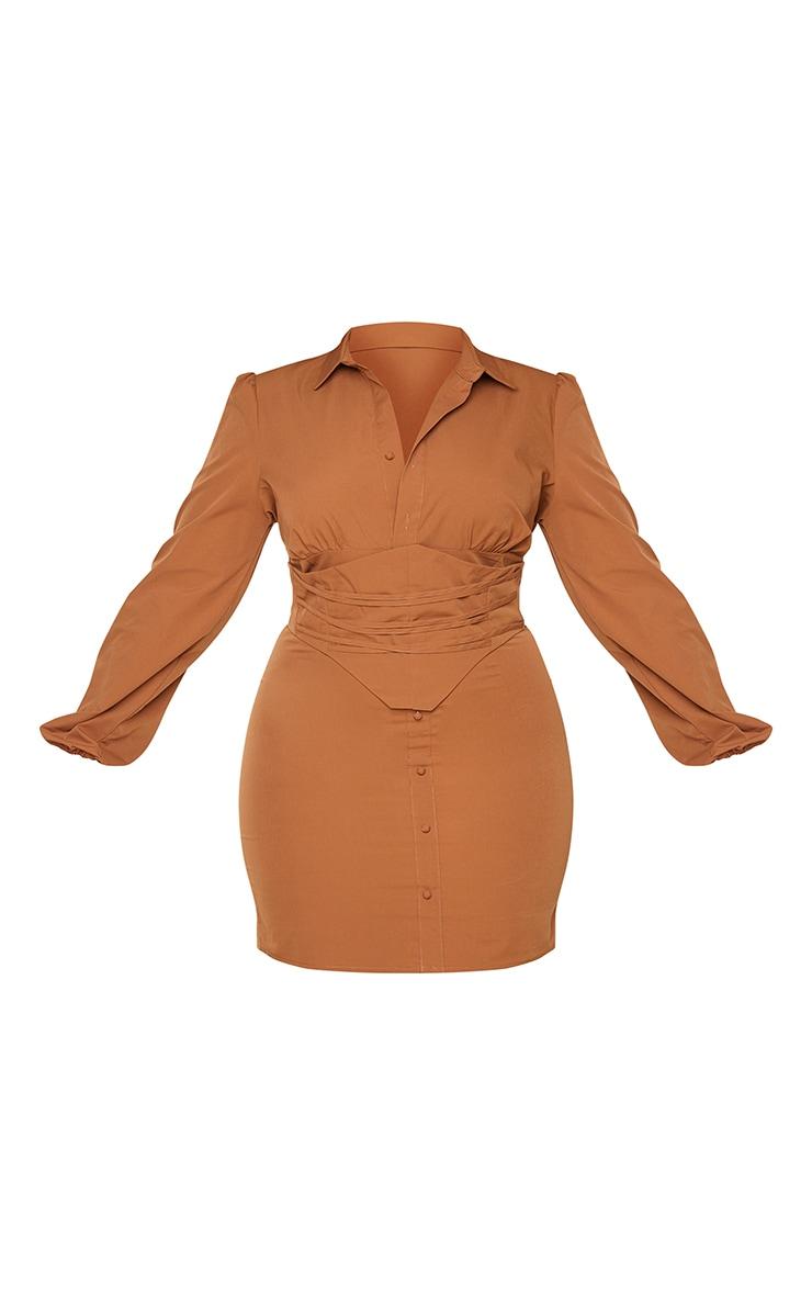 Plus Chocolate Brown Corset Detail Puff Sleeve Dress 5