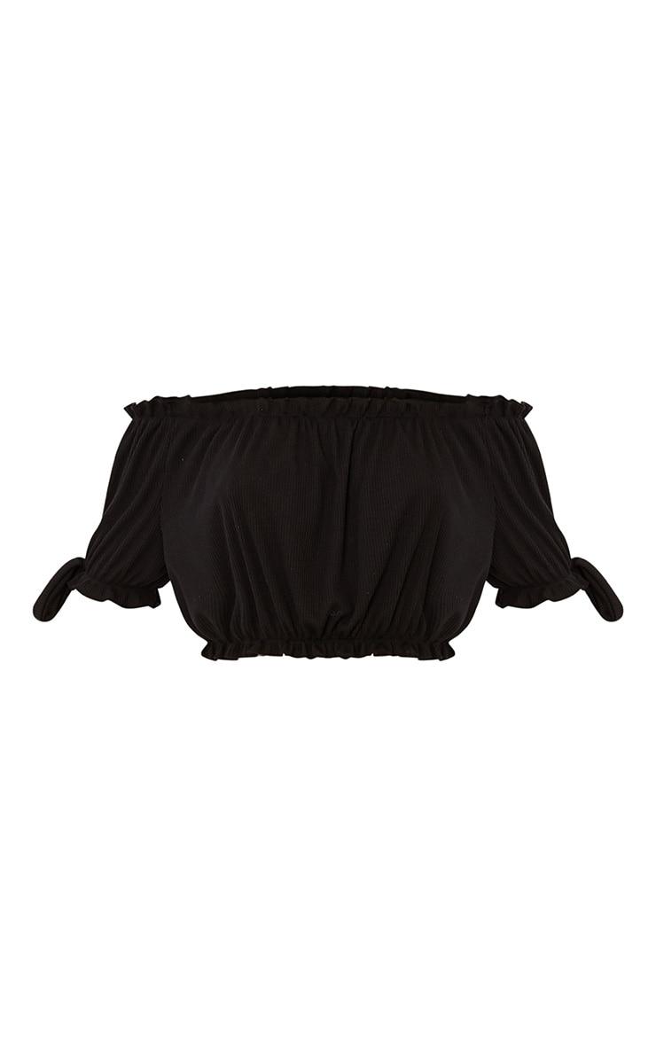 Norah Black Bardot Bow Sleeve Jersey Crop Top 3