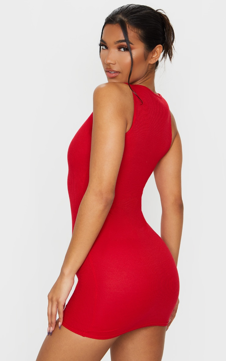 Red Ribbed Scoop Neck Bodycon Dress 2
