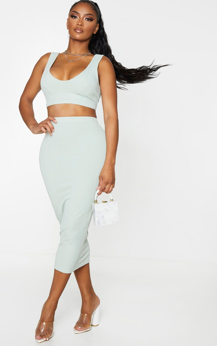 Shape Sage Khaki Bandage Cup Detail Crop Top 3