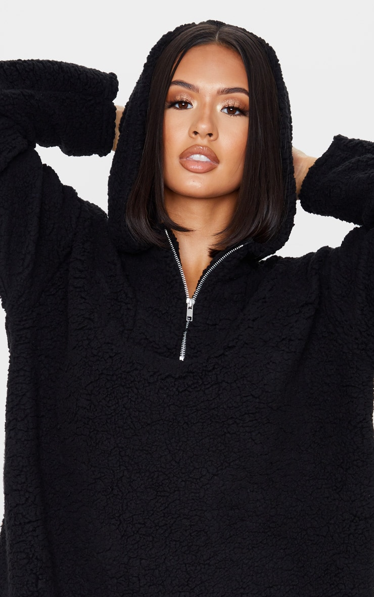 Black Borg Zip Neck Hoodie Oversized Sweater Dress 5
