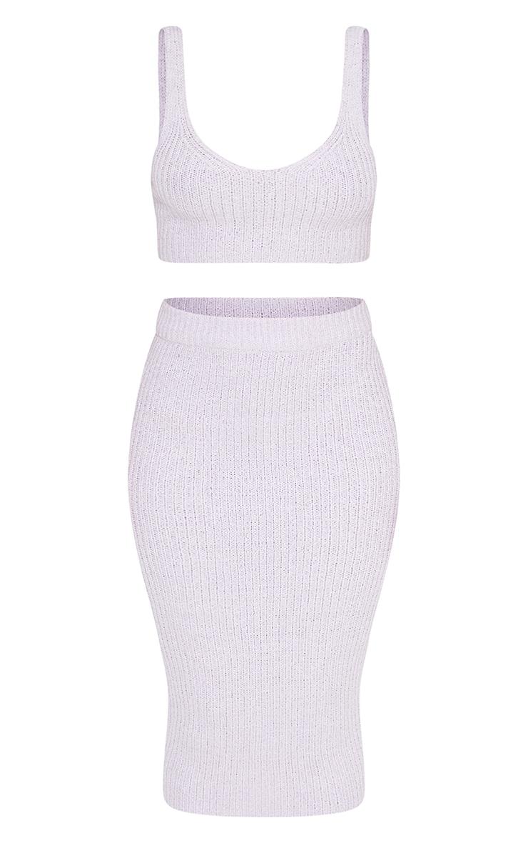 Lilac Tape Yarn Knitted Midi Skirt Set 5