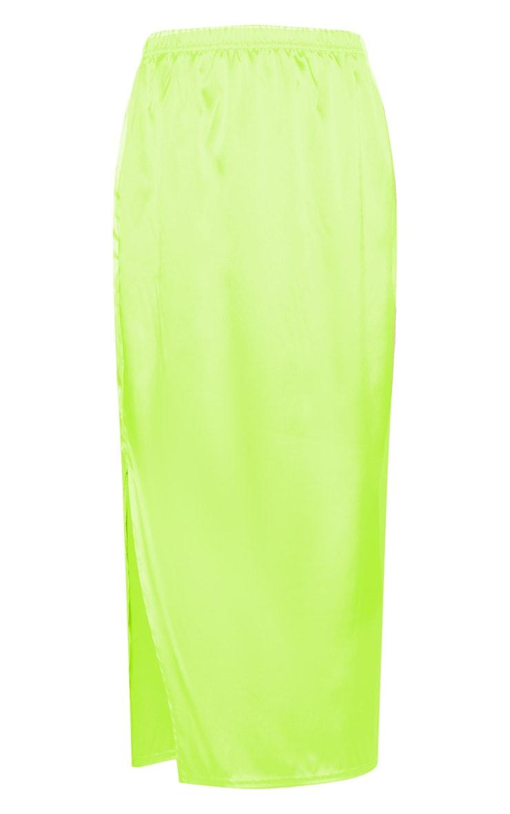 Lime Satin Side Split Midi Skirt 3