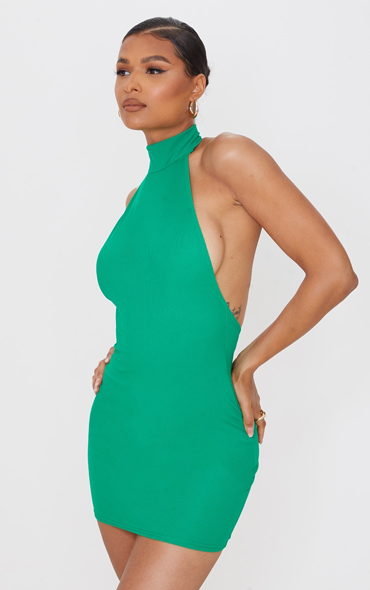 Green Ribbed High Neck Extreme Open Back Bodycon Dress 2