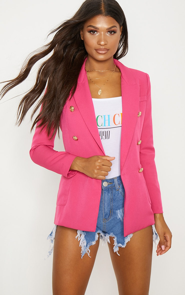 Pink Double Breasted Military Blazer