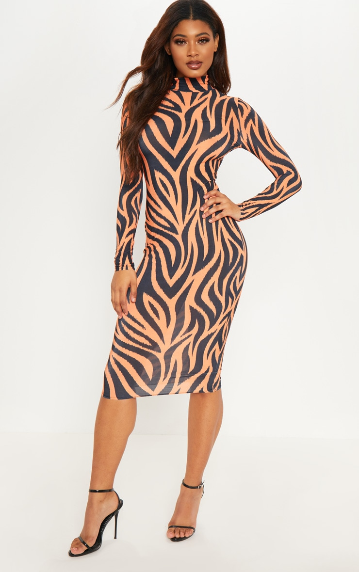 Tall Orange Zebra Print High Neck Slinky Midi Dress 4