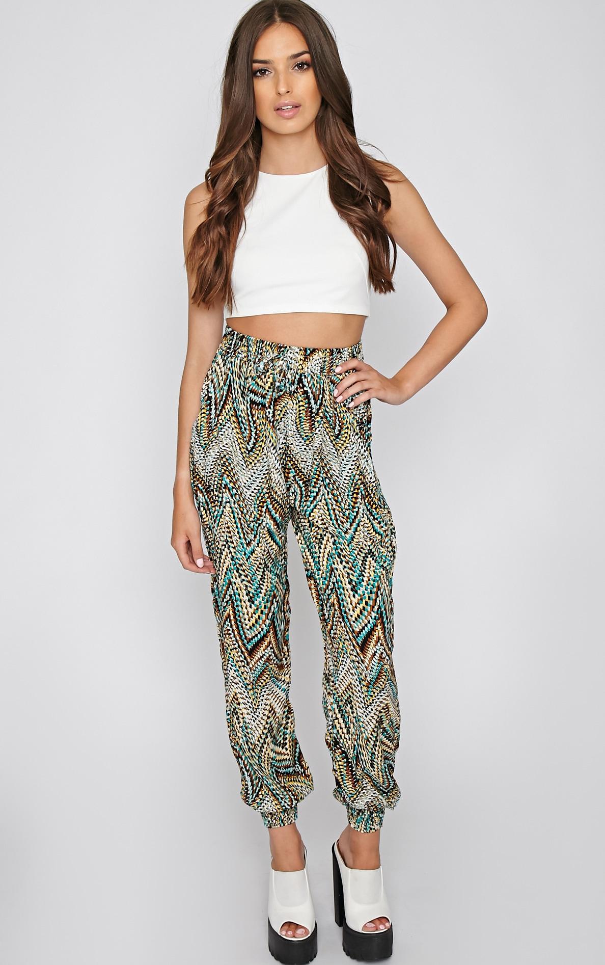 Nahla Green Print Harem Trouser 4