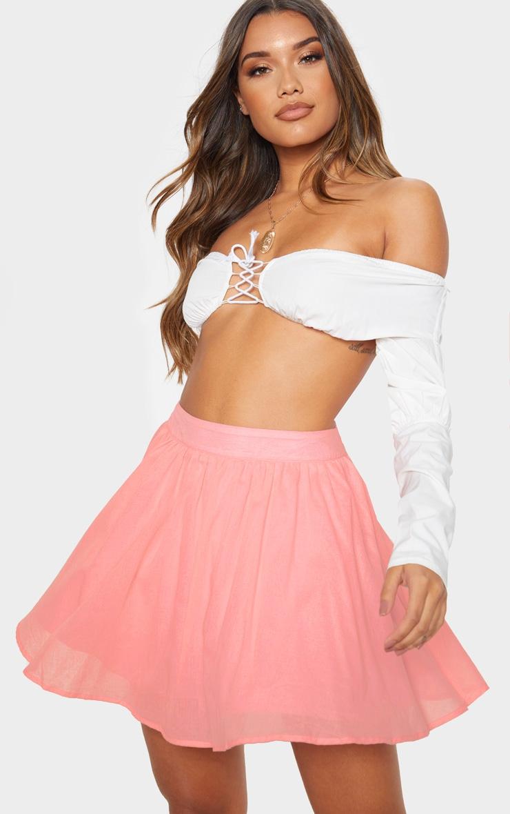 Pink Woven Full Skater Skirt  1