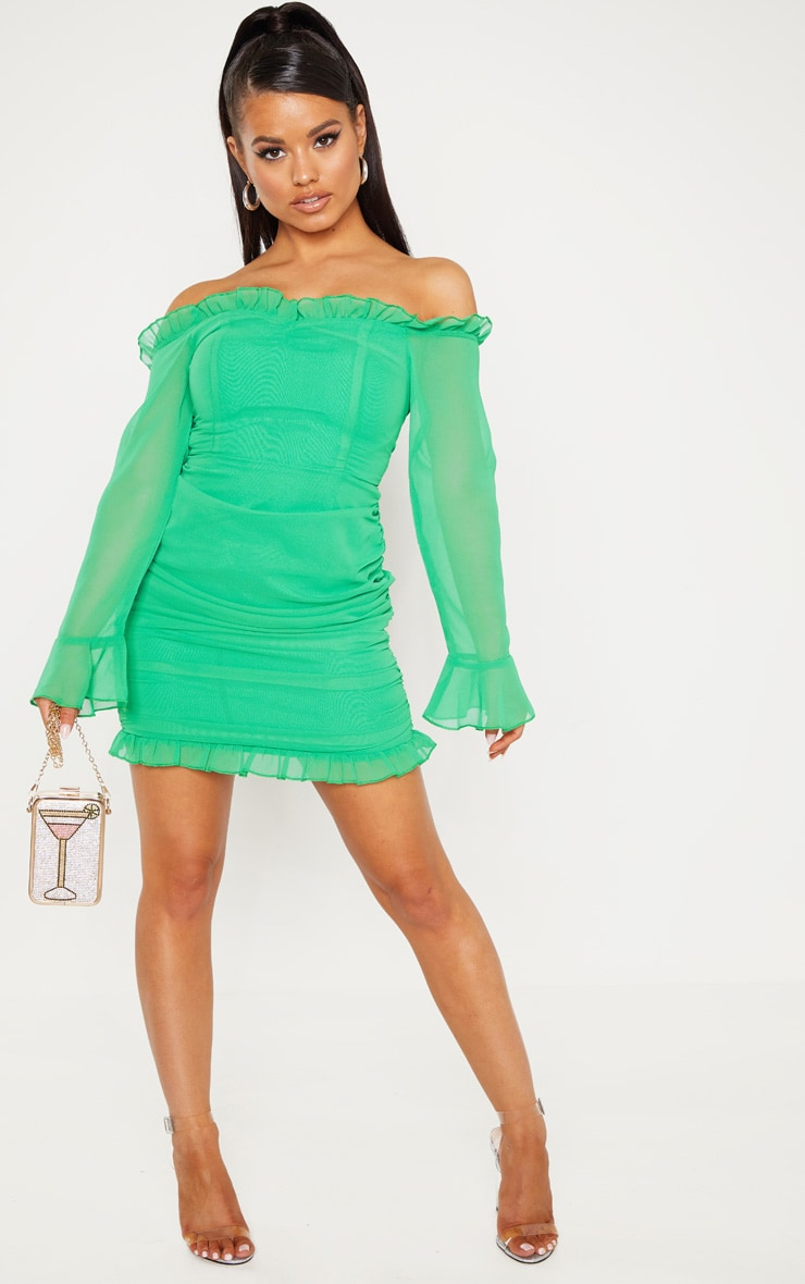 Petite Bright Green Bardot Frill Detail Ruched Dress 3