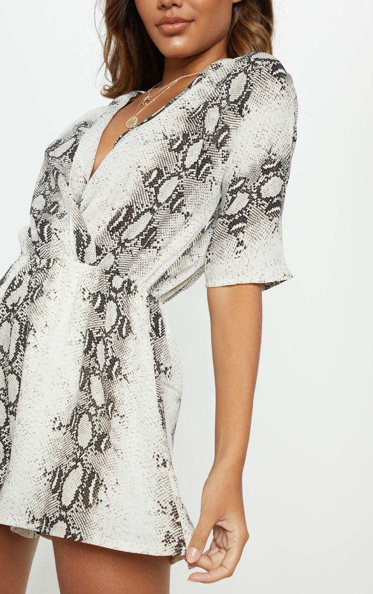 Grey Snake Print Wrap Front Playsuit 5