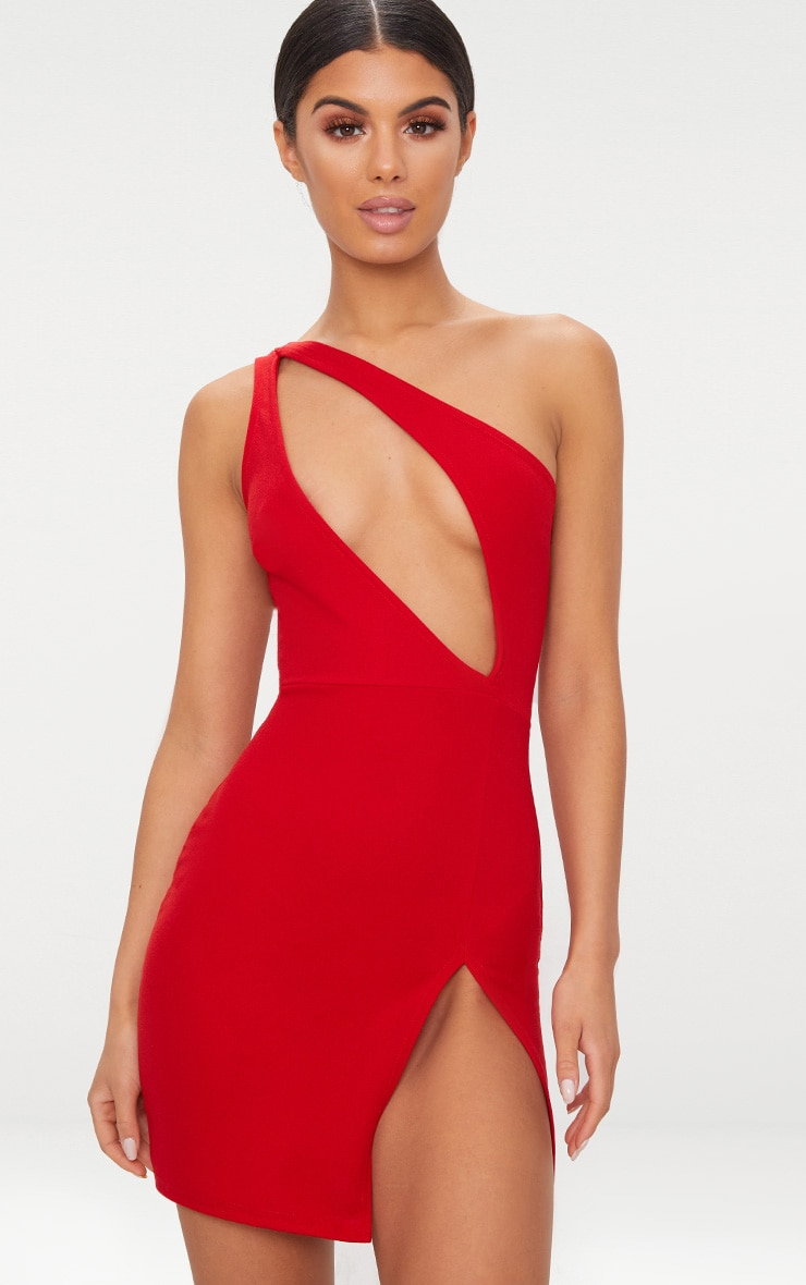 Red One Shoulder Extreme Split Detail Bodycon Dress 1
