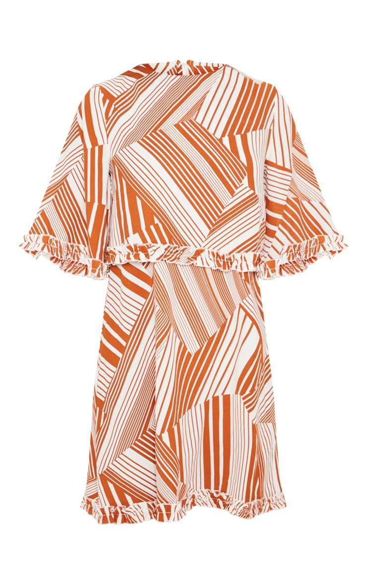 Burnt Orange Geometric Ruffle Smock Dress 3