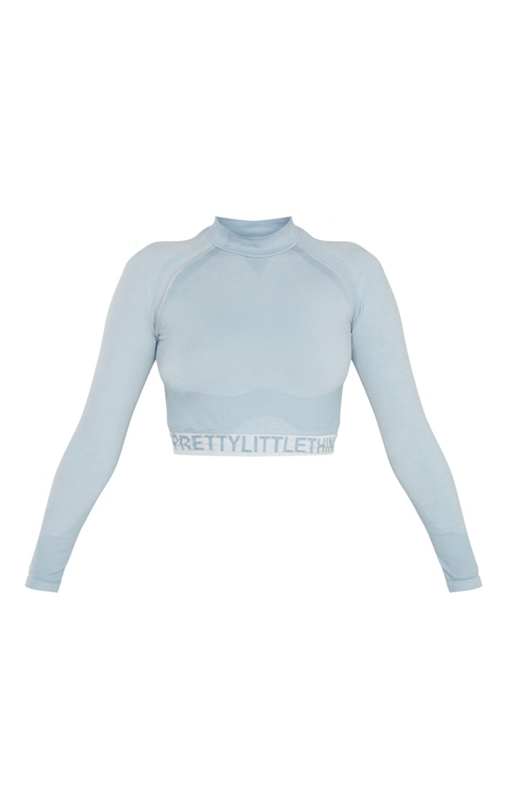 PRETTYLITTLETHING  Ice Blue  Seamless Longsleeve Crop Top 3