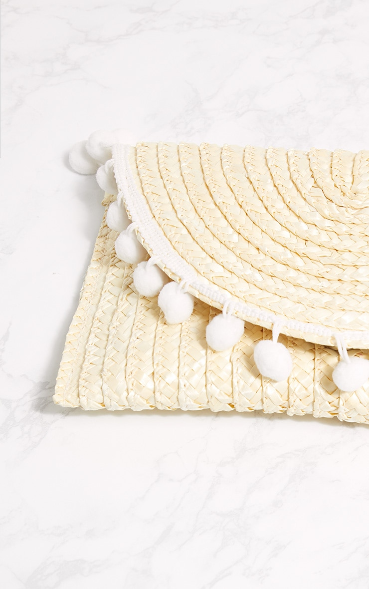 Cream Straw Pom Pom Clutch Bag 5