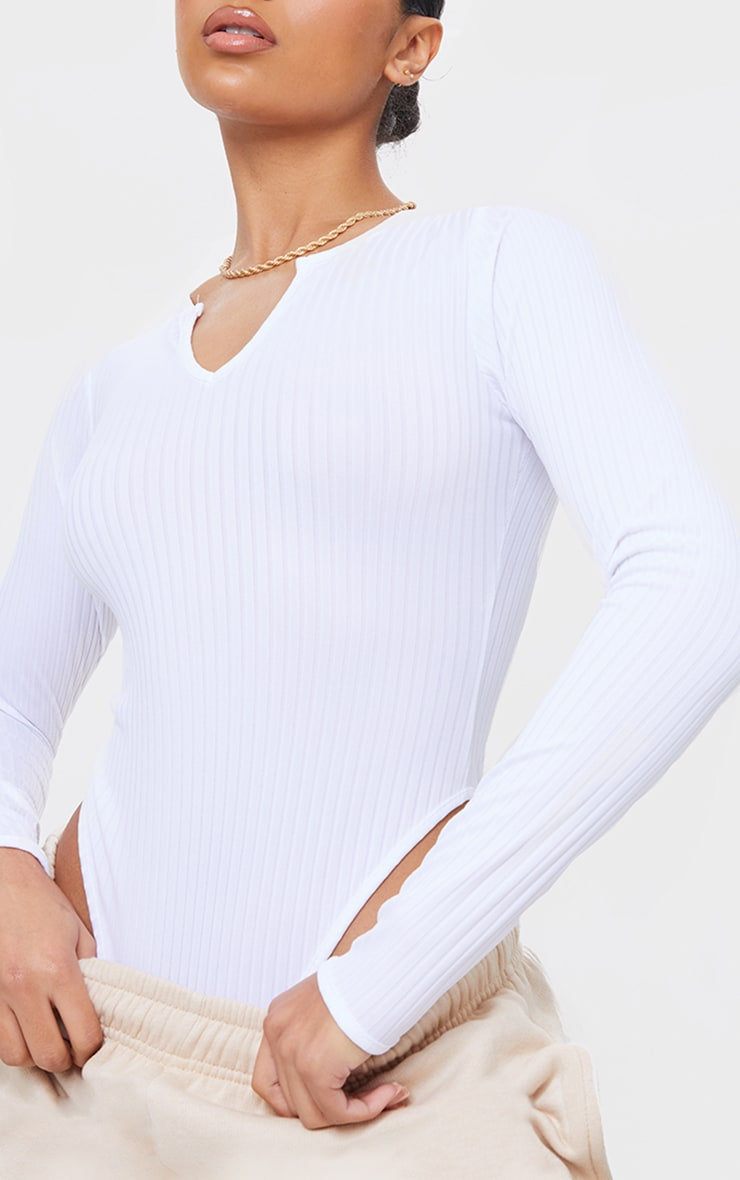 White Wide Rib V Cut Out Long Sleeve Bodysuit 4