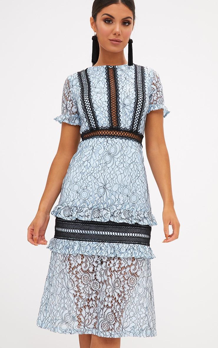 Dusty Blue Lace Ruffle Detail Midi Dress 4
