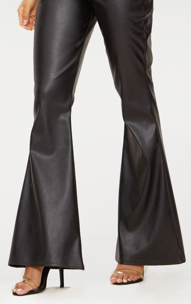 Black Faux Leather Flared Trousers 6