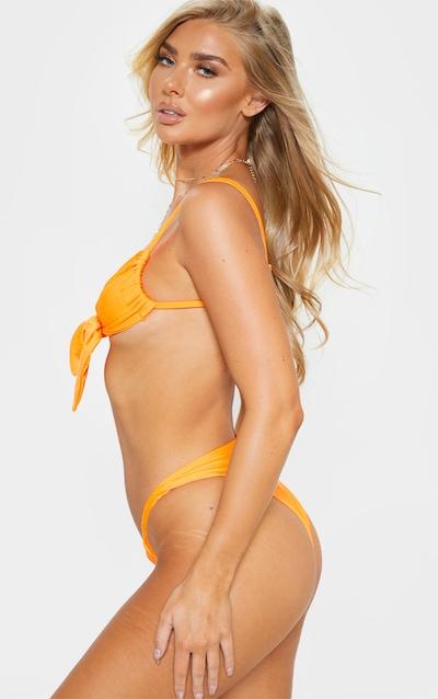 Orange Ruched Wide Strap Bikini Bottom