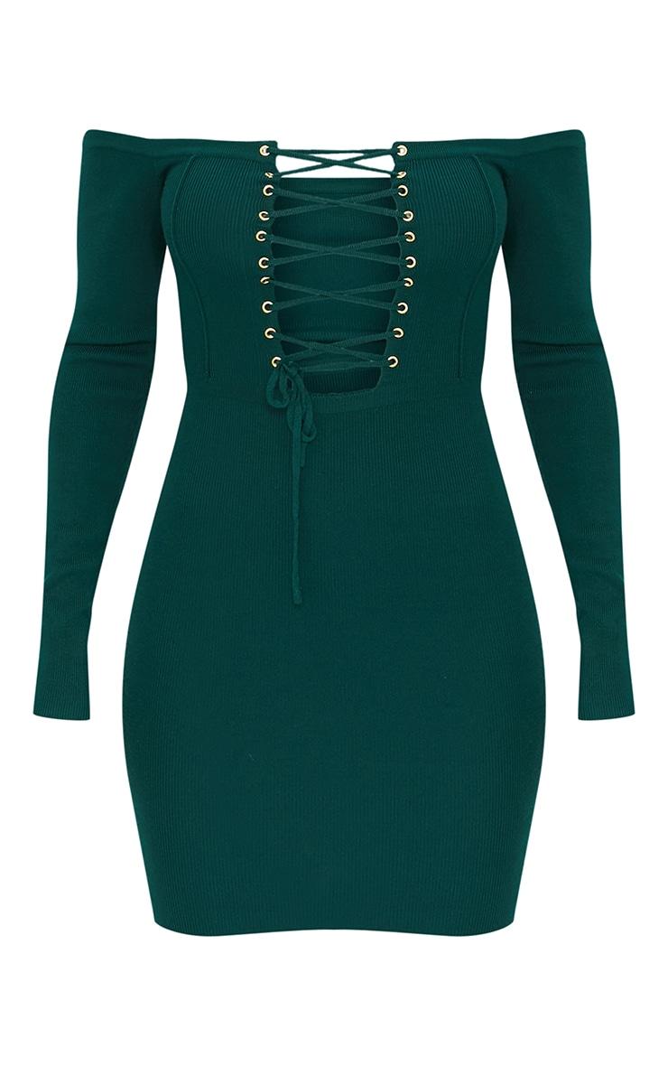 Green Lace Up Bardot Ribbed Knitted Mini Dress 5