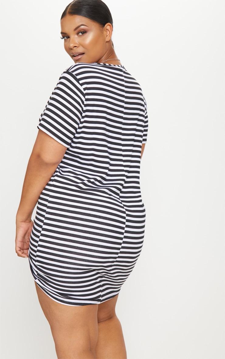 Plus Black Striped T Shirt Dress 2