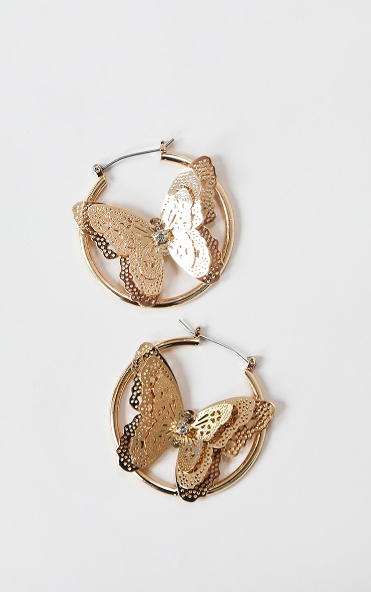 Gold Diamante Butterfly Hoop Earrings 3