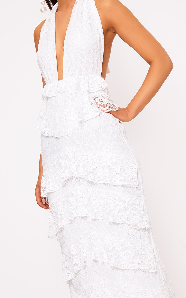 White Lace Frill Detail Maxi Dress 5