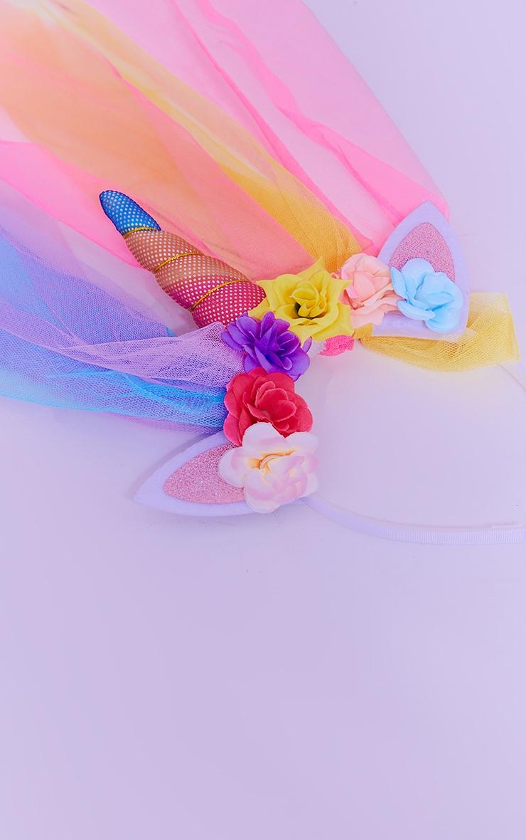 Rainbow Flowers Unicorn And Veil Headband 3