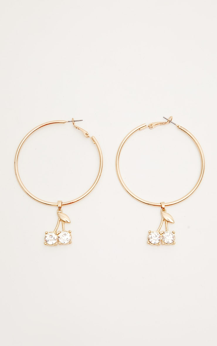 Gold Crystal Cherry Hoops 2
