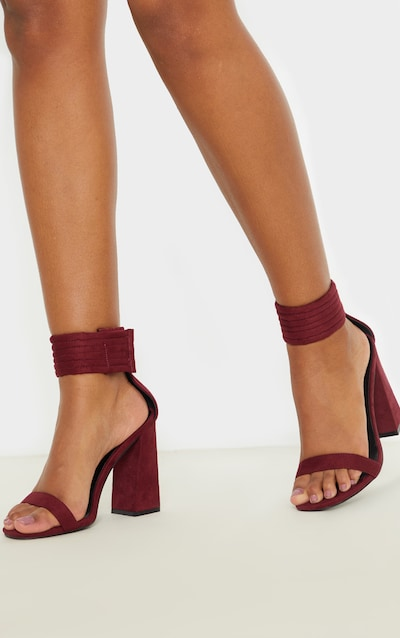 Burgundy Quilted Ankle Cuff Block Heel Sandal