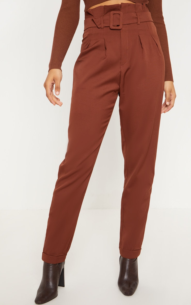 Tall Brown Belt Detail Straight Leg Pants 2