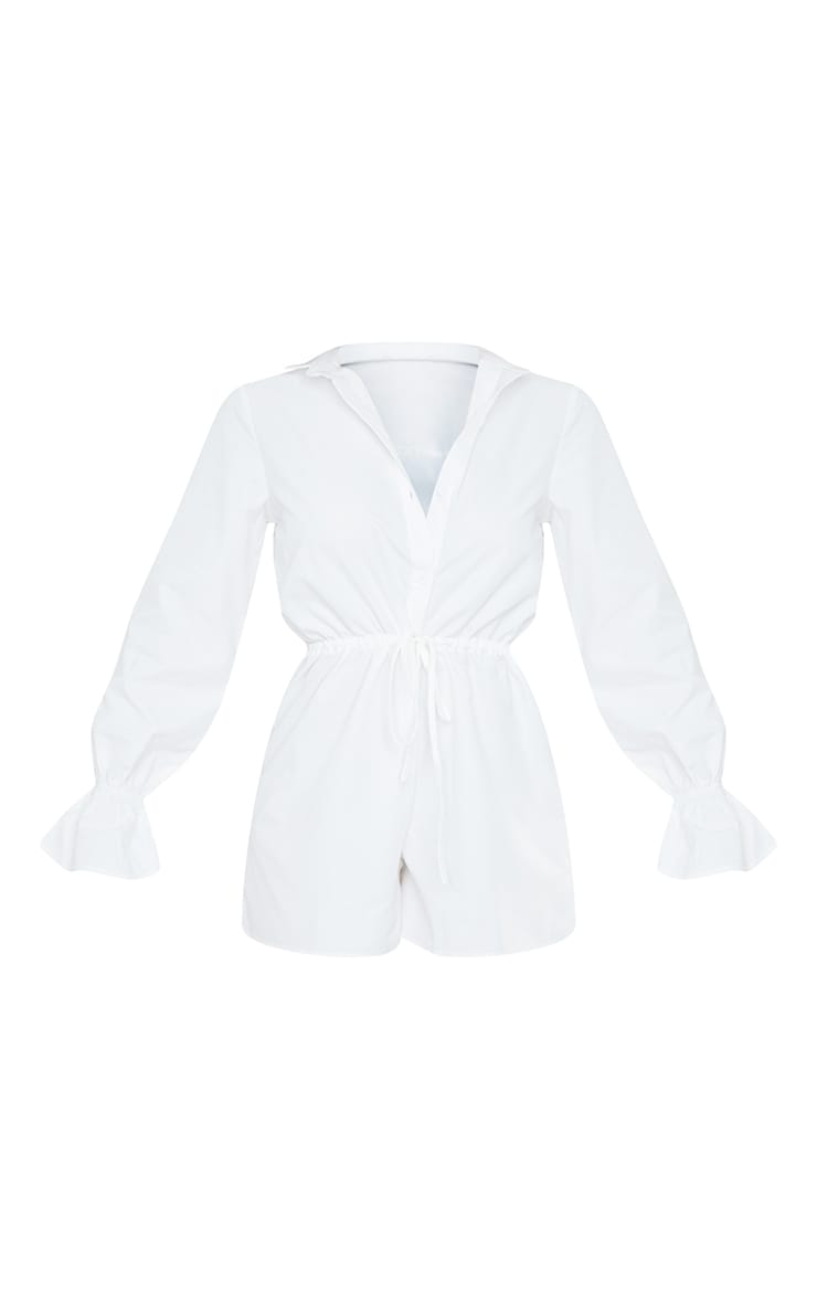 White Frill Sleeve Shirt Playsuit 5