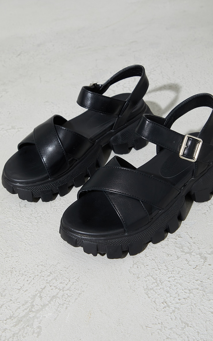 Black PU Extreme Cleated Sole Cross Strap Sports Sandals 1