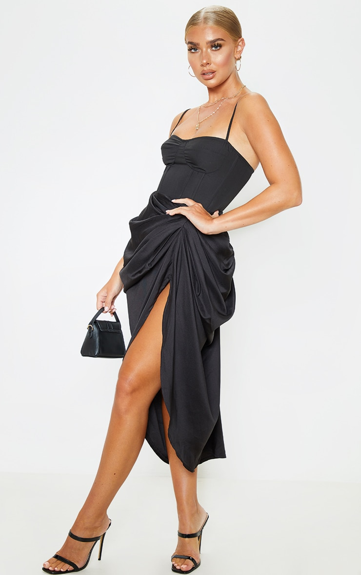 Black Ruched Side Midi Skirt 6