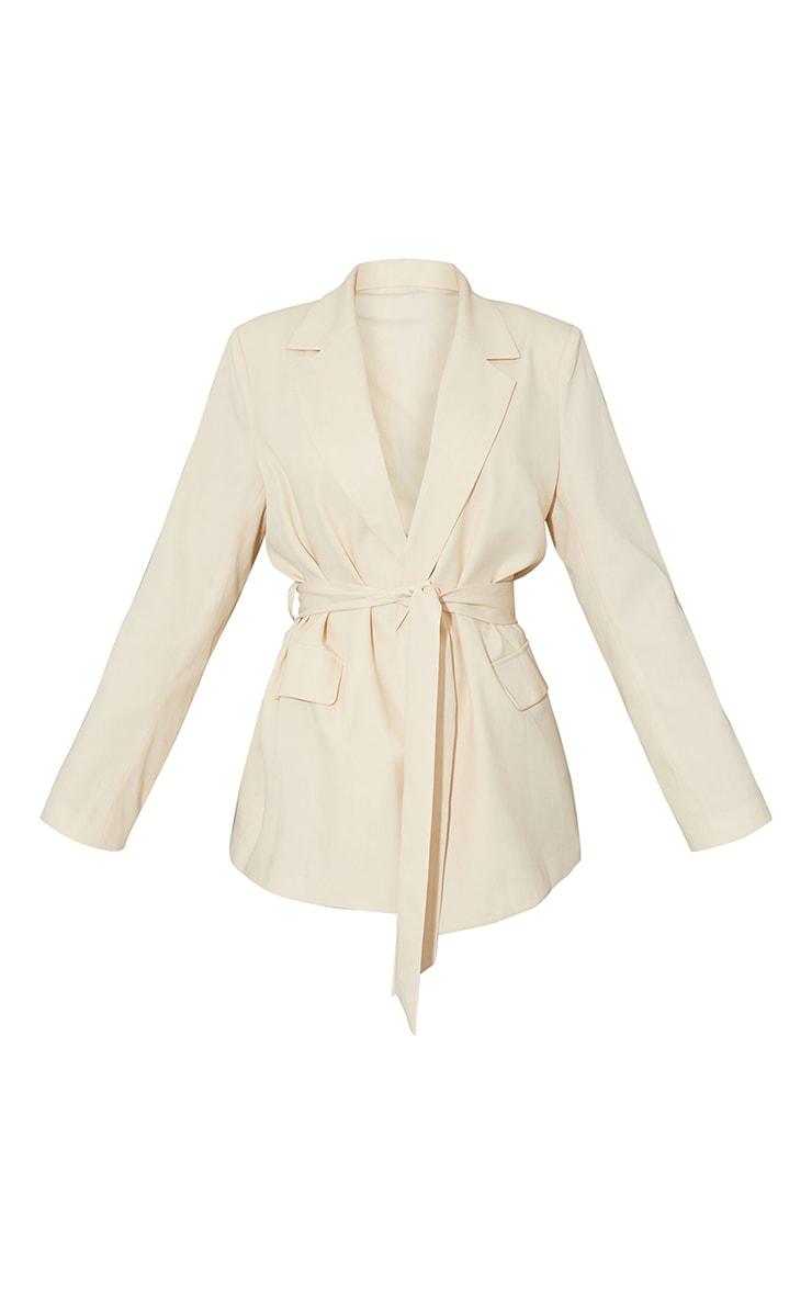 Cream Woven Oversized Pocket Front Belted Blazer 5