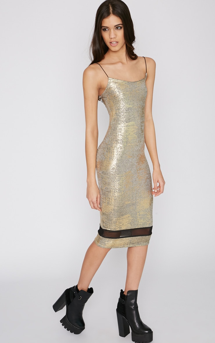 Rayne Gold Foil Mesh Insert Midi Dress 3