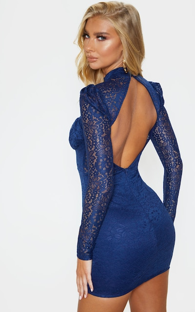 Navy Lace High Neck Open Back Bodycon Dress