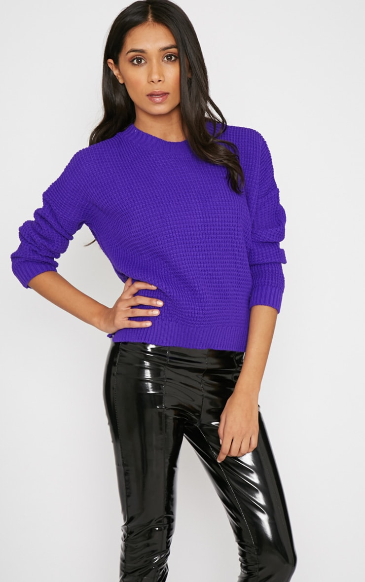 Evie Purple Fisherman Knitted Jumper 1