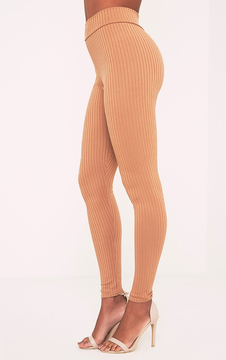 Harlie Camel Ribbed High Waisted Leggings 4