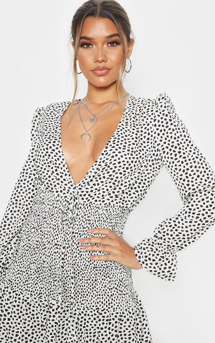Beige Dalmatian Print Shirred Frill Hem Bodycon Dress 5