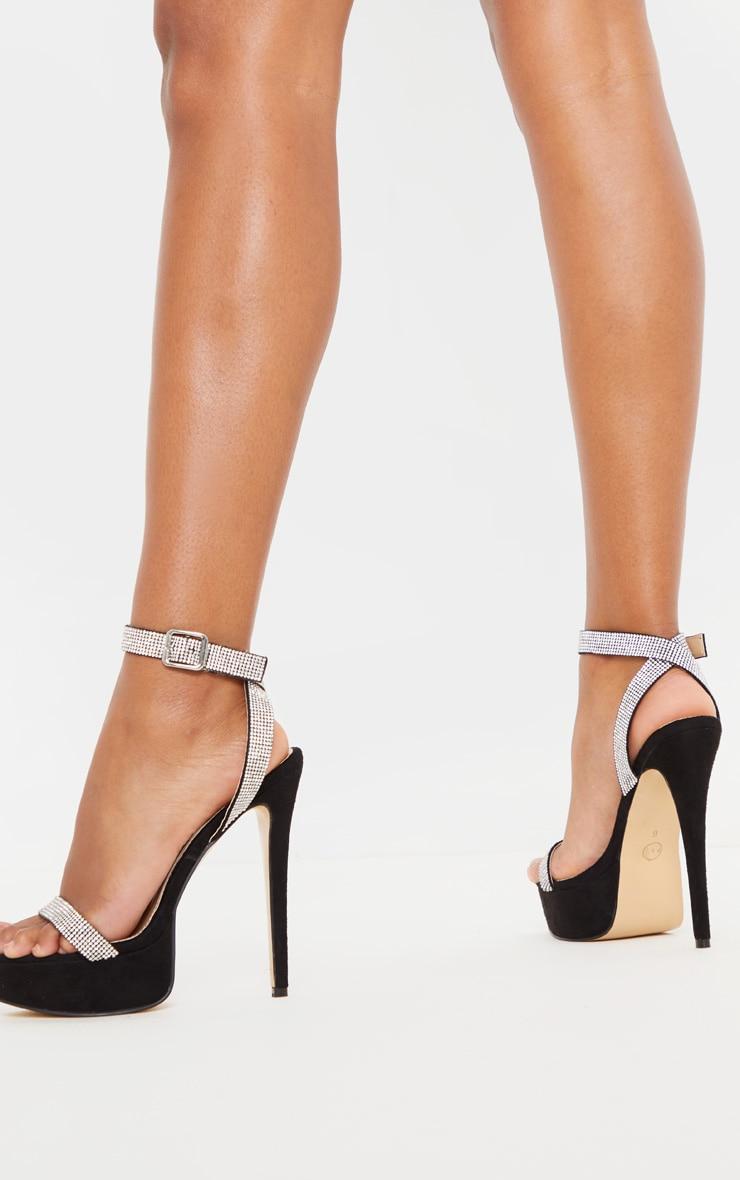 Sandales plateforme noires strassées à brides  2