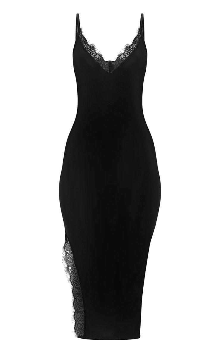 Black Strappy Lace Trim Plunge Split Midi Dress 3