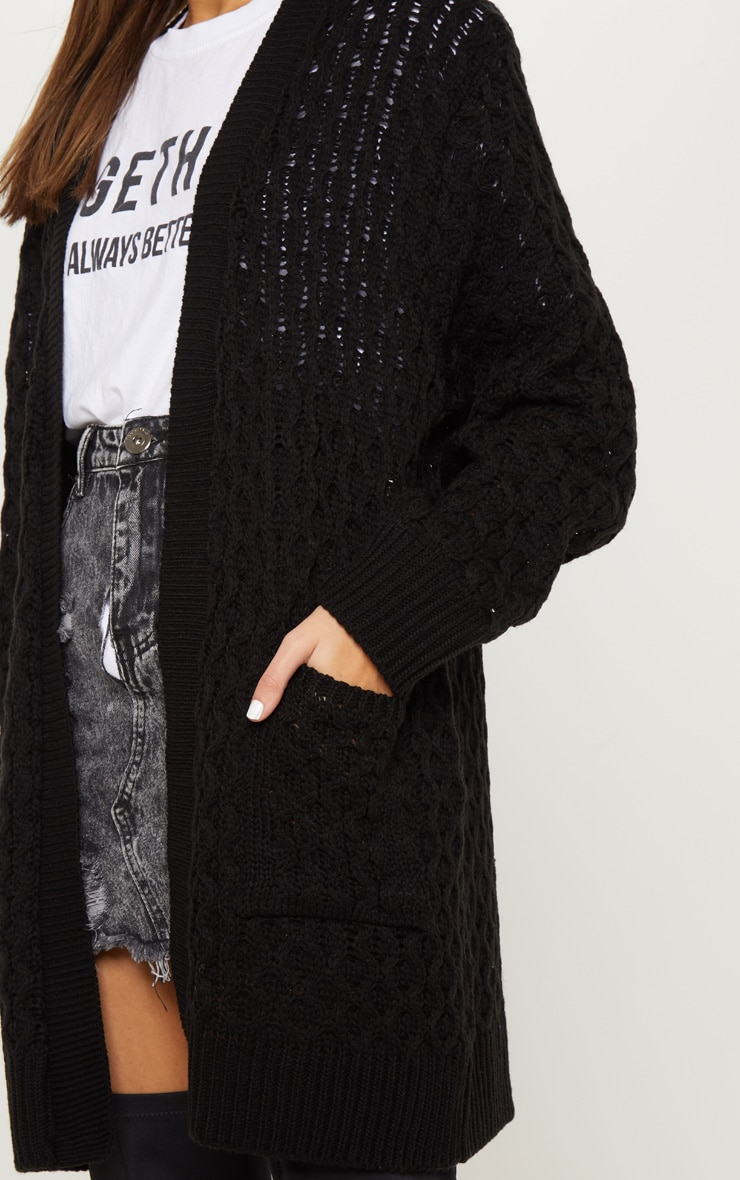 Black Chunky Knitted Midi Cardigan  5