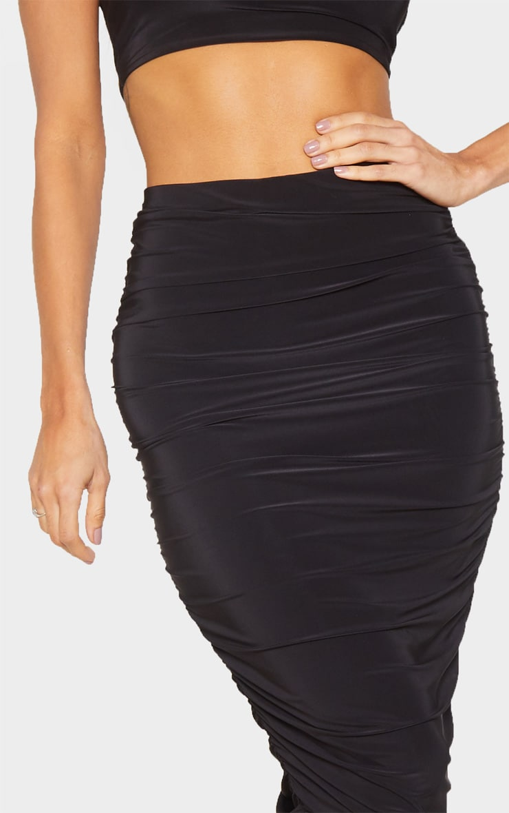 Black Slinky Second Skin Ruched Midi Skirt 5