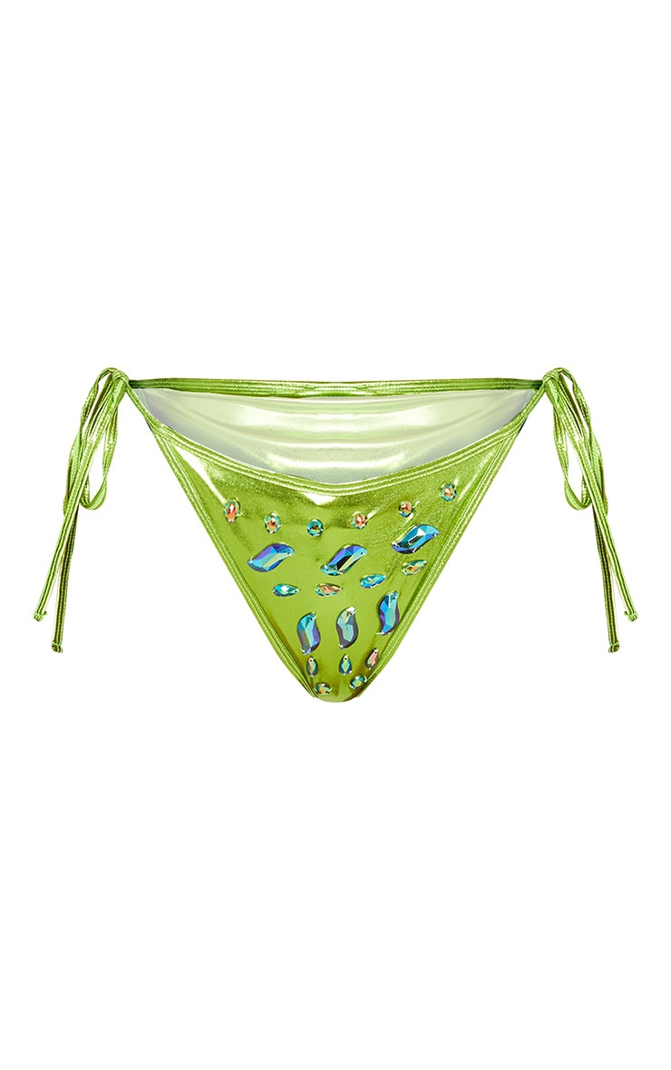 Premium Green Metallic Jewelled  Tie Side Pool Party Bottom 4